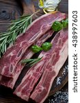 raw beef short ribs with... | Shutterstock . vector #438997603