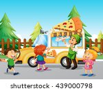 children line up at pizza truck ... | Shutterstock .eps vector #439000798