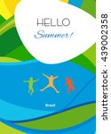 hello summer festive background ... | Shutterstock .eps vector #439002358