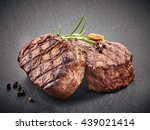 grilled beef steaks with spices ... | Shutterstock . vector #439021414