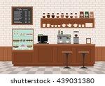Stock vector coffee shop interior flat design vector illustration 439031380