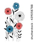 hand drawn floral card with... | Shutterstock .eps vector #439058788