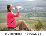 portrait of a sporty lean girl... | Shutterstock . vector #439062796
