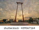 the giant swing with temple of... | Shutterstock . vector #439067164