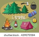 set of camping equipment symbols   Shutterstock .eps vector #439070584