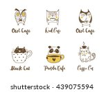 cute owls  cat and panda... | Shutterstock .eps vector #439075594