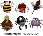 set include 6 different bugs ... | Shutterstock .eps vector #439077664