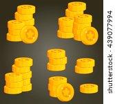 set of coin piles for game user ...   Shutterstock .eps vector #439077994