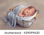 newborn baby boy sleeping | Shutterstock . vector #439099630
