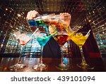 barman show. bartender pours...   Shutterstock . vector #439101094