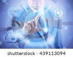 businessman pressing virtual