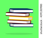 stack of red books on a green... | Shutterstock .eps vector #439130980