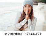 young blonde happy smiling... | Shutterstock . vector #439131976