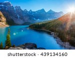 moraine lake is a glacially fed ... | Shutterstock . vector #439134160