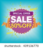 special offer  sale  fifty... | Shutterstock .eps vector #439136770