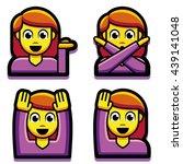 vector emoji girl set isolated... | Shutterstock .eps vector #439141048
