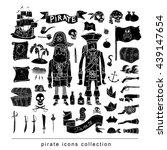 doodle pirate elememts  vector ... | Shutterstock .eps vector #439147654