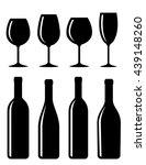 glossy bottle and glass set... | Shutterstock .eps vector #439148260