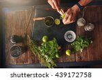 bartender hands juicing lemon... | Shutterstock . vector #439172758