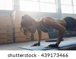 shot of young woman doing push... | Shutterstock . vector #439173466