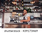 indoor shot of happy young bar... | Shutterstock . vector #439173469