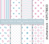 Stock vector set of baby seamless patterns pink and blue colors vector backgrounds 439178833