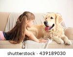 Little Girl And Big Kind Dog On ...