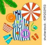 beach accessories top flat lay... | Shutterstock .eps vector #439202953