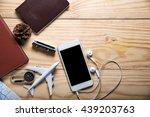 travel gear gear on wooden...   Shutterstock . vector #439203763