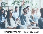 he got some questions. group of ... | Shutterstock . vector #439207960