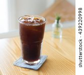 Small photo of Iced Americano black coffee serve in cafe.
