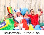 group of mixed supporter taking ... | Shutterstock . vector #439237156