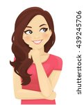cute thinking woman looking... | Shutterstock .eps vector #439245706