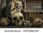 Closeup Pirate Skull With Two...