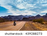 biker driving on the highway on ... | Shutterstock . vector #439288273