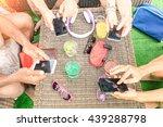 top view of multiracial friends ... | Shutterstock . vector #439288798