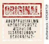 hand drawn font in retro stamp... | Shutterstock .eps vector #439289719