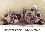 top view of group of teenage... | Shutterstock . vector #439292596