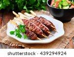 Homemade Kebabs On Skewers Wit...