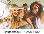 hippie friends having fun into...   Shutterstock . vector #439314430
