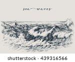 sea or ocean waves drawing. sea ... | Shutterstock .eps vector #439316566