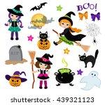 halloween cute witches set....   Shutterstock . vector #439321123