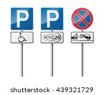 set of 3 road signs  isolated...   Shutterstock .eps vector #439321729