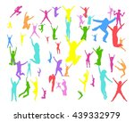 success concept people jumping  | Shutterstock .eps vector #439332979