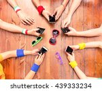 many white hands using phone... | Shutterstock . vector #439333234