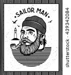 portrait of bearded sailor with ...