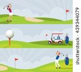 golf course banner  men and... | Shutterstock .eps vector #439344079