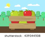 wooden box with apples flat... | Shutterstock .eps vector #439344508