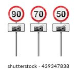 set of 3 road signs  isolated... | Shutterstock .eps vector #439347838