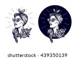 vector hipster logo. label ... | Shutterstock .eps vector #439350139